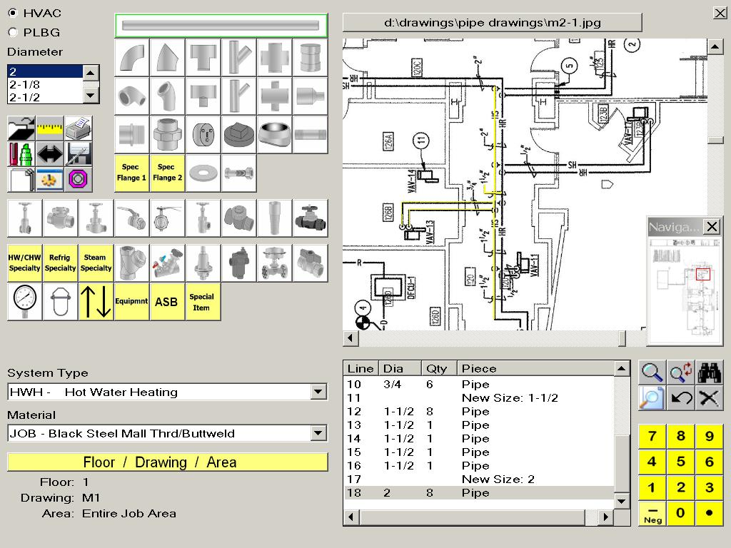 HVAC Estimating Software Screen Takeoff